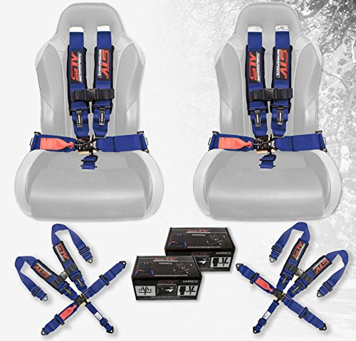Racing Harness Belts - STVMotorsports STV Motorsports V-Type 5 Point Racing Harness Set Latch and Link 3 inch Safety Seat Belt for Off-Road racing, UTV, Trucks, Side by Side 2 Sets (Blue)