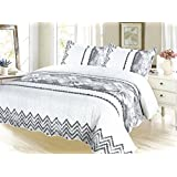 Black & White Vector Pinsonic Bedding 3 Piece Bedspread Quilt Set - King Size