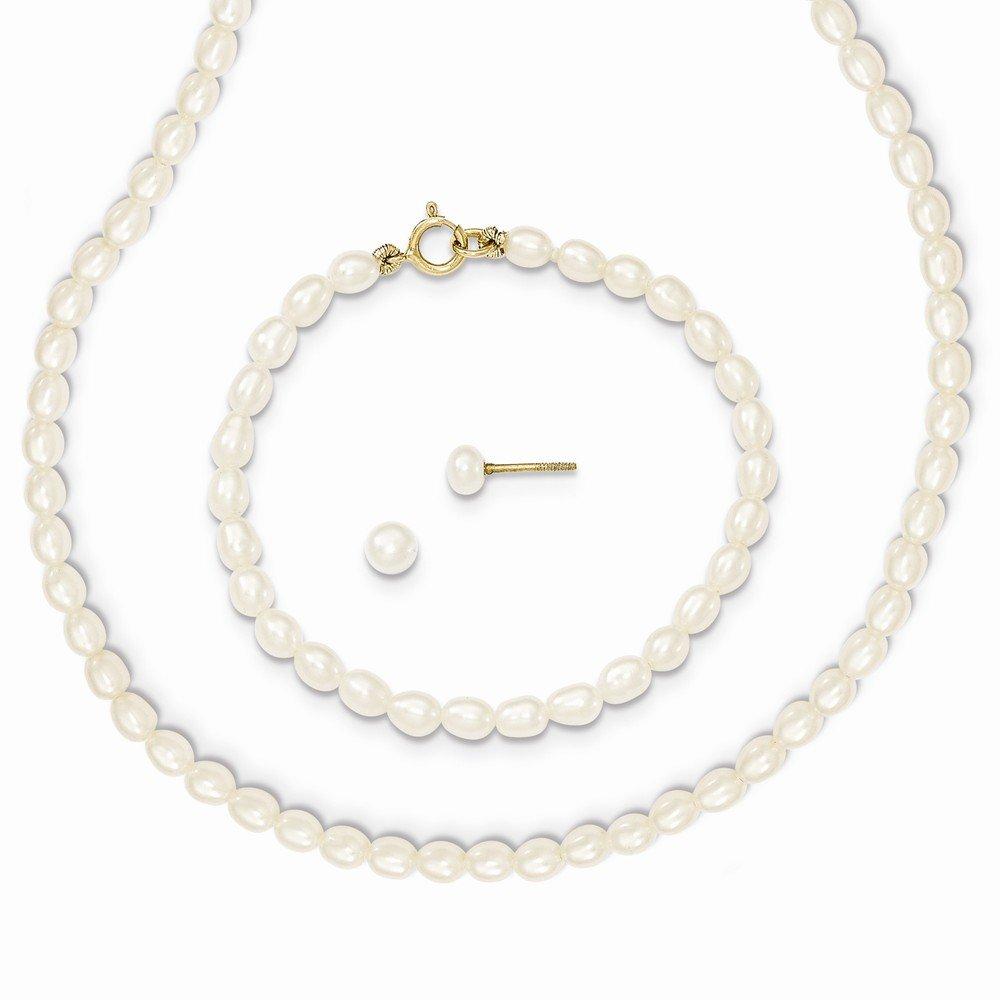 14k White FW Cultured Pearl 14 in. Necklace, 5 in. Bracelet & Earring Set XF403SET