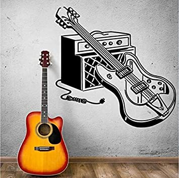 WJYdp Pegatinas De Pared Guitarra Eléctrica Tatuajes De Pared Rock Pop Música Arte De La Pared Mural Casa Música Decoración Instrumento Musical Guitarra ...