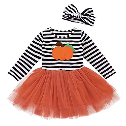Iuhan  Baby Girls Dress Halloween, Casual 2Pcs Infant Baby Girls Striped Dress Long Sleeve Pumpkin Tutu Gown Headbands Halloween Cosplay Costume Outfits (3-4Years, -