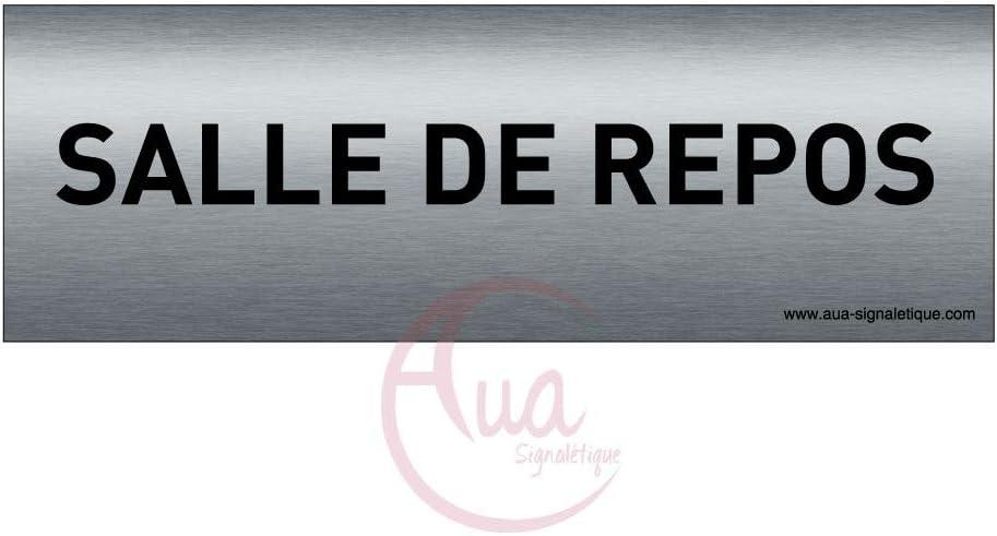 Plaque de porte Aluminium bross/é imprim/é AluSign Texte 150x50 mm Priv/é Double Face adh/ésif au dos AUA SIGNALETIQUE
