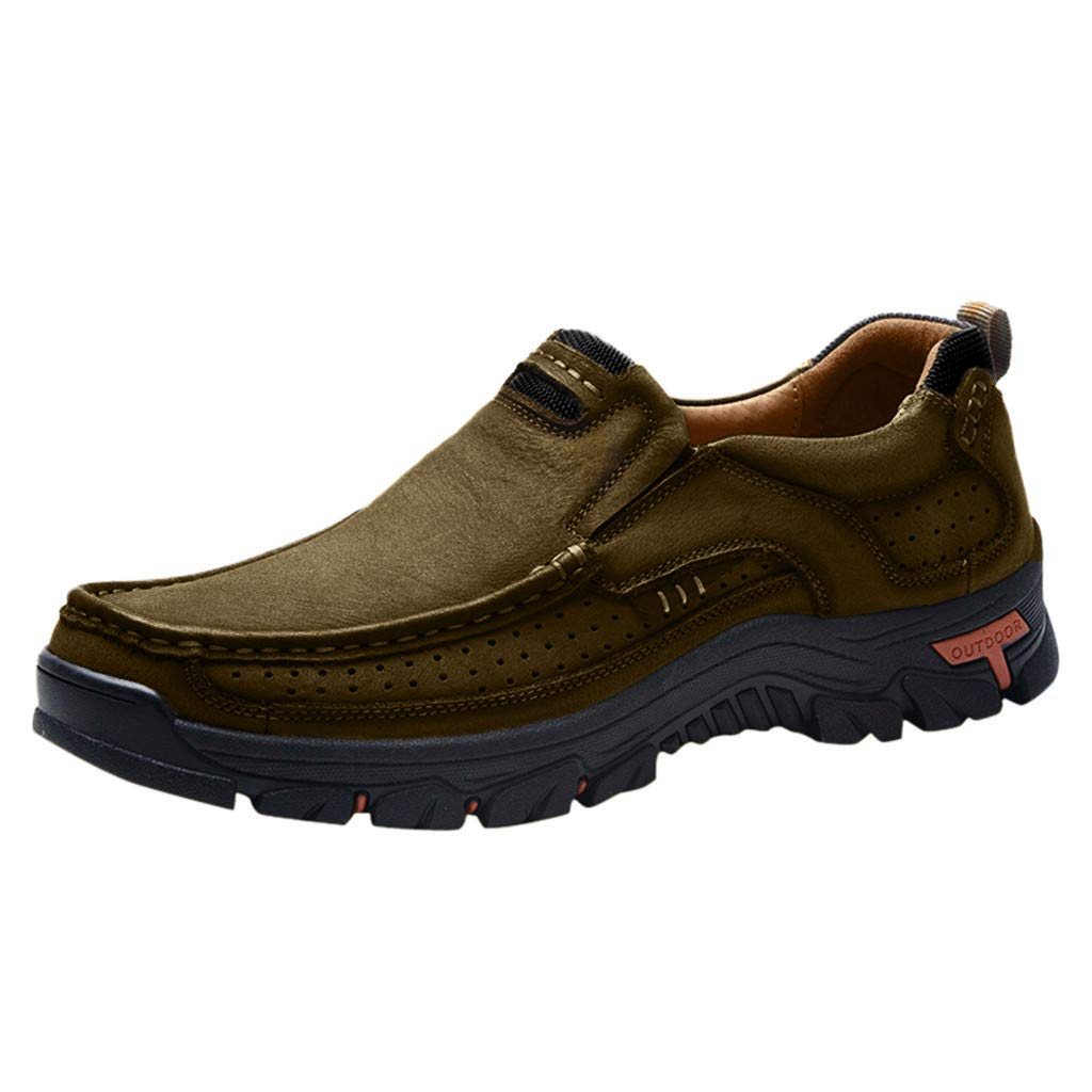 【MOHOLL】 Mens Walking Shoes Leather Lightweight Breathable Casual Slip On Loafers Khaki by ✪ MOHOLL Shoes ➤Clearance Sales