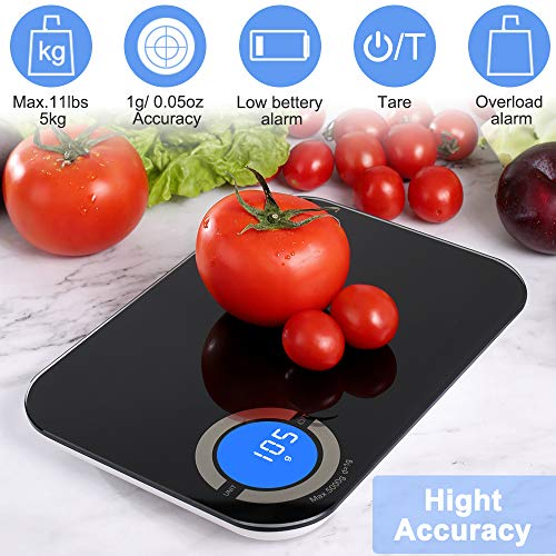 Digital Food Scale, 11 lb Kitchen Scale Weight Grams and oz for Cooking Baking, 1 g/0.05 oz Precise Graduation, 6 Units, 9.4