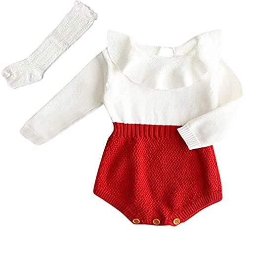 82c8be626ee8f PerFBdy Baby Girls Romper Knitted Ruffle Long Sleeve Jumpsuit Romper Autumn  Winter Casual Clothing with High Socks Tube