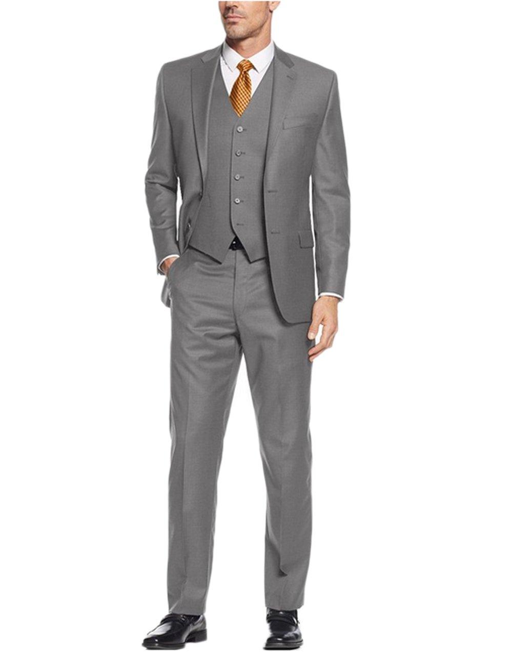 Love Dress Men's Suit 3-Piece Two Button Blazer Jacket Flat Front Pants Gray 5XL
