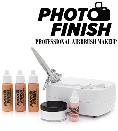 Photo Finish Professional Airbrush Cosmetic Makeup System Kit / Chose Shades- Light Medium or Tan 3pc Foundation Set with Blush and Silica Finishing Powder- Chose Matte or Luminous Finish Kit (Tan- Luminous Finish)