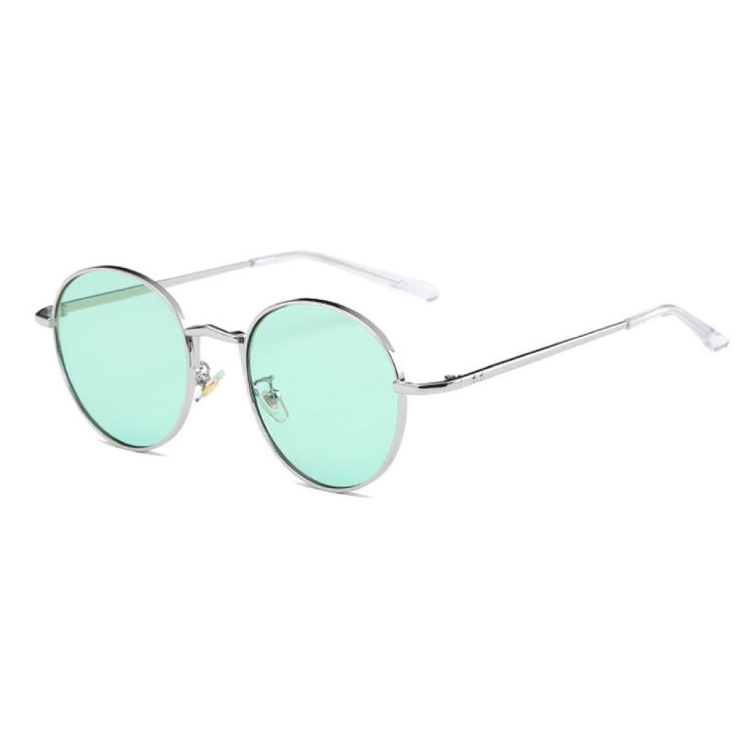 Fat.chot Unisex Round Vintage Sunglasses Metal Frame Clear Lens Glasses Eyeglasses for Outdoor Sports Travel Selfie F022801