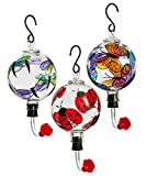 Painted Glass Hummingbird Feeder, Assorted Butterfly, Ladybug, and Dragonfly