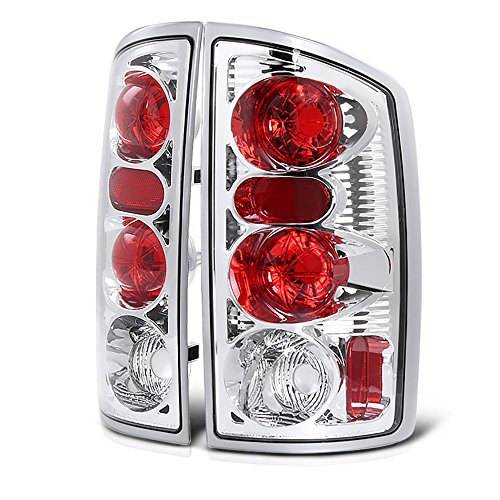 VIPMOTOZ Altezza Euro Style Tail Light Lamp For 2002-2006 Dodge RAM 1500 2500 3500 - Metallic Chrome Housing, Driver and Passenger Side