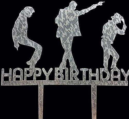 CaJaCa Happy Birthday Silver Cake Topper Michael Jackson, TXCTC145, Birthday Party (Silver)]()