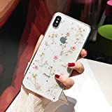 iPhone 8 Plus Flower Case, Shinymore Soft Clear Flexible Rubber Pressed Dry Real Flowers Case Girls Glitter Floral Cover for iPhone 7 Plus/8 Plus-Pink
