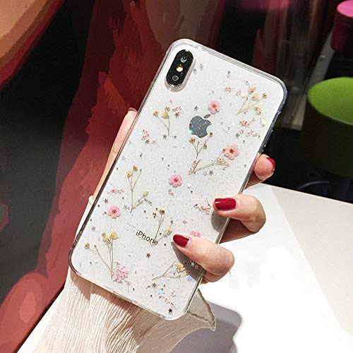 iPhone XR Flower Case, Shinymore Soft Clear Flexible Rubber Pressed Dry Real Flowers Case Girls Glitter Floral Cover for iPhone XR-Pink