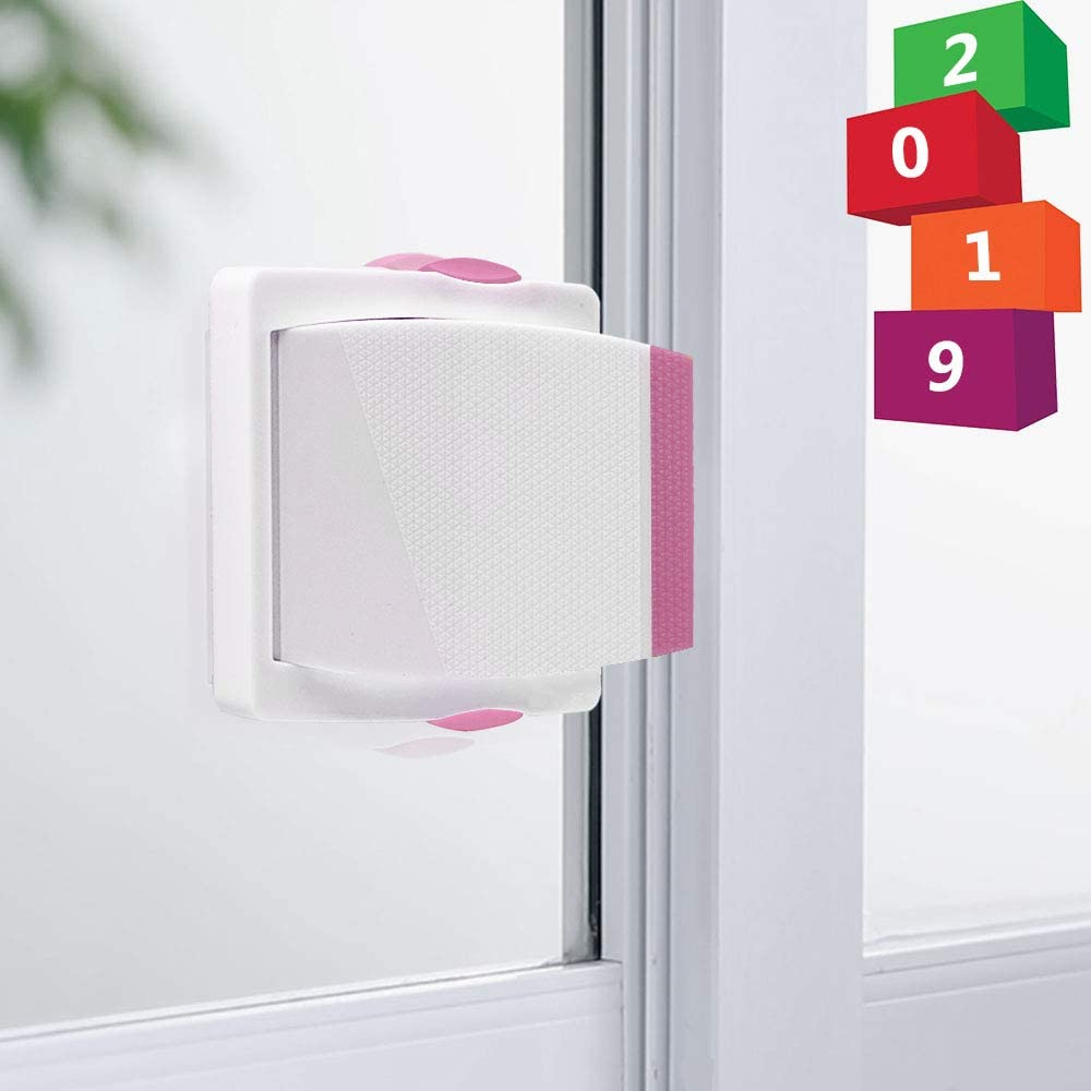 [4 Pack] Sliding Door Lock, Childproof Safety Lock for Sliding Closet Cupboard Bathroom Kitchen Doors Windows by Kelamayi (White & Pink)