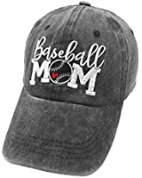 Waldeal Embroidered Unstructured Baseball Mom Life Vintage Adjustable Ballcap Cotton Denim Dad Hats Gift for Mom/Grandma Black