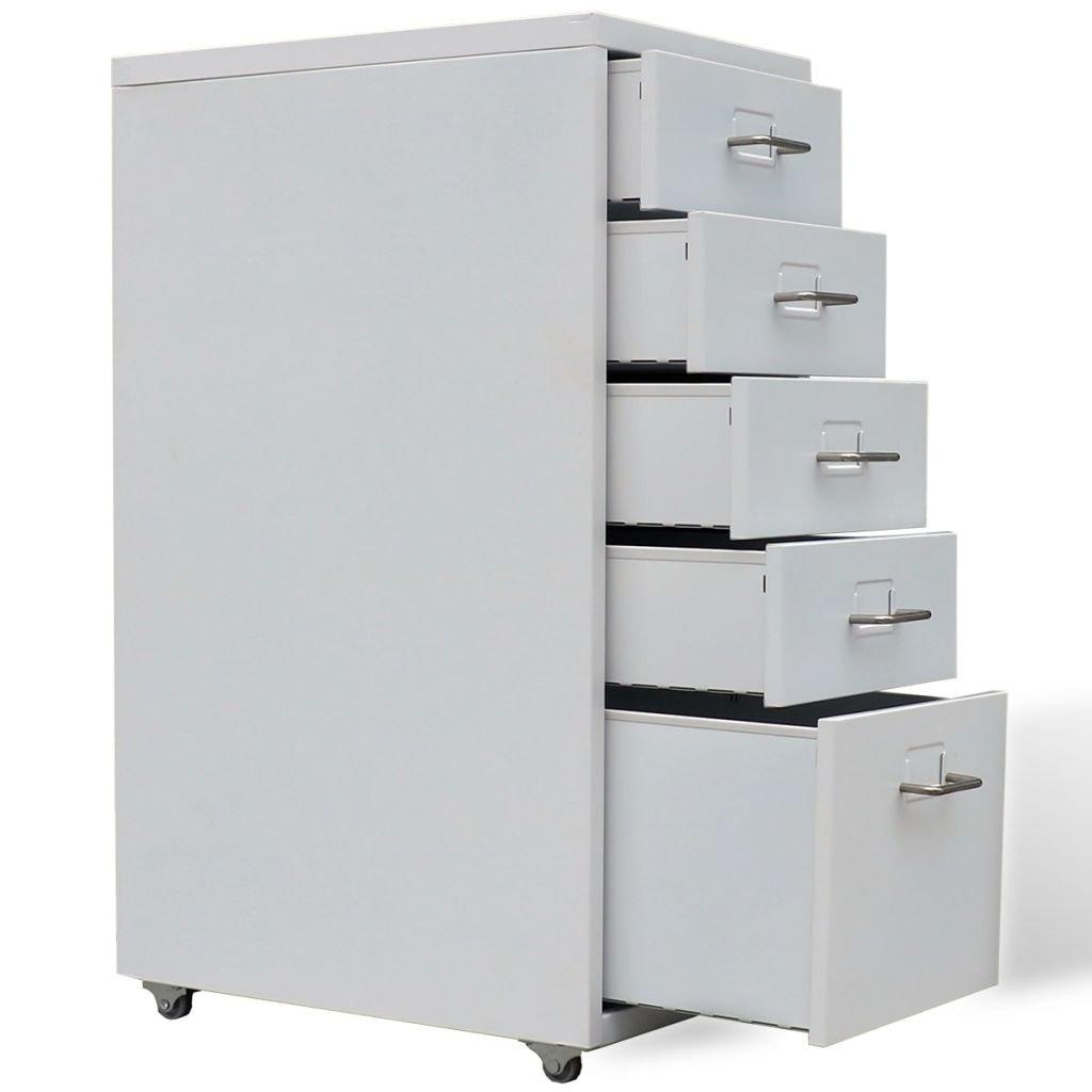 Amazon.com: vidaXL 5 Drawer Metal Filing Cabinet Office ...