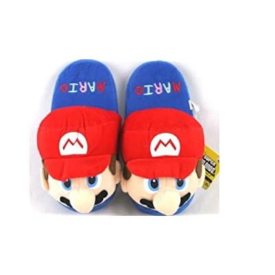 """Super Mario Adult Plush Slipper - Up to 10.5"""" Long: Office Products"""