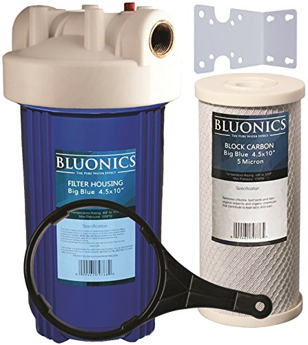 BLUONICS 10'' Big Blue Whole House Water Filter with 5 Micron 4.5 x 10'' Carbon/Charcoal Block Filter Cartridge for Chlorine, Pesticides, Herbicides, Insecticides, Bad Taste and Odor by BLUONICS