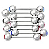 Thenice 8 Pcs Medical Steel Barbell Pole Tongue Studs Piercing Nipple Rings (Rod length 30mm)
