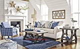 Adderbury Bone-tone Fabric Sofa with Blue Windowpane Plaid Print Accent Chair Set