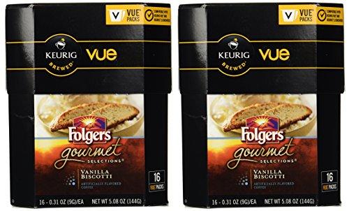 Folgers Gourmet Selections Vanilla Biscotti Coffee Keurig Vue Portion Packs, (Vanilla Biscotti)