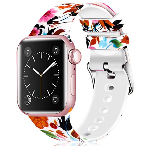 (Greatfine Sport Band Compatible for Apple Watch Band 38mm 42mm 40mm 44mm,Soft Silicone Strap Replacement iWatch Bands Compatible with Apple Watch Series 4 3 2 1  (Flower, 38mm/40mm))