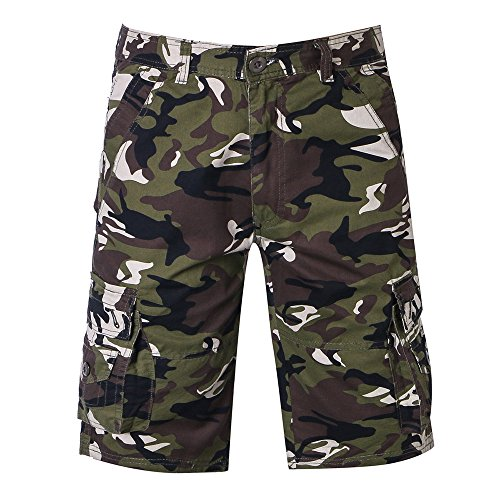 iZHH Men's Pants Casual Camouflage Pocket Beach Work Short Trouser Cargo Shorts Pant ()