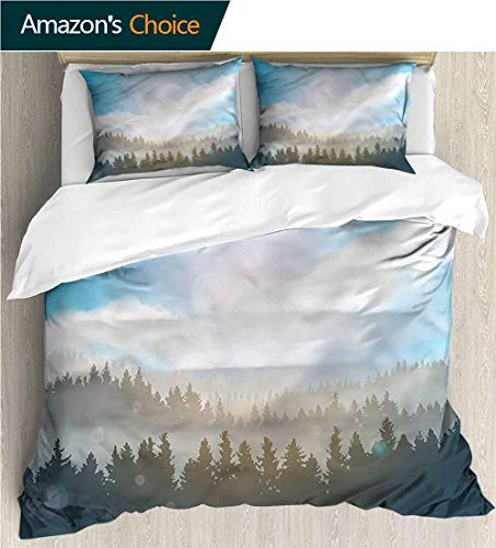 carmaxs-home Modern Pattern Printed Duvet Cover,Box Stitched,Soft,Breathable,Hypoallergenic,Fade Resistant 100% Cotton Beding Linens for Kids Children-Nature Hazy Mountain Evergreens (104