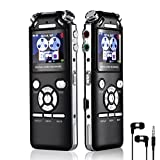 Voice Recorder Digital Voice Recorder Voice Audio Recorder 16GB Three Microphones Intelligent Noise Reduction Design Memory MP3 With Colorful Screen (Black)