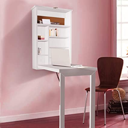 Amazoncom Writing Desk With Storage Cabinet Wall Mount Computer