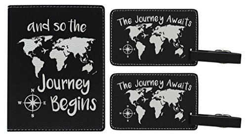 Travelers Gift Set Keep The Journey Awaits Begins World Map Travel Gifts for Women or Men Gifts for Travel Laser Engraved Leather Passport Holder & Luggage Tags Set (World Luggage Traveler Tag)