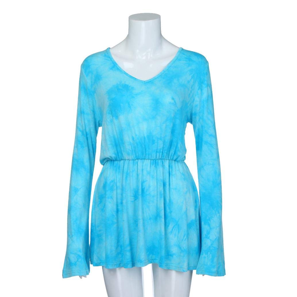 Tsmile Women Blouse Clearance Fashion V-Neck Tie-Dye Print Long Sleeve Tops Pleated Waist Line Tunic Shirt by Tsmile (Image #2)