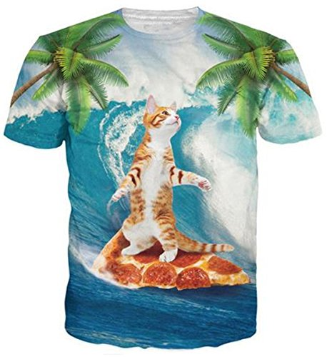 Belovecol Summer Loose Colorful T Shirts for Mens Womens Short Sleeve Crewneck Pizza Cat Graphic Tee Shirts Tops XXL