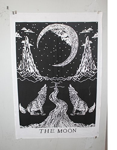 Embroidered Tapestry Fabric Wall Hanging (Crying Wolf of The Moon Tapestry wall hanging Bohemian Poster Ethnic Wall Art,Size 42x30 Inche.)