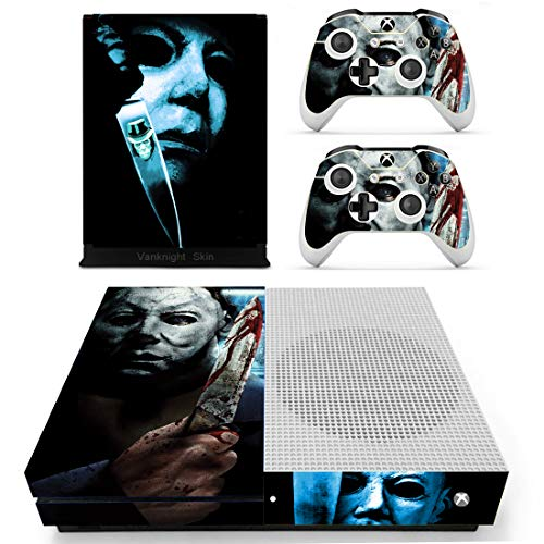 Decal Moments Xbox One S(Slim)Console Skin Set Vinyl Decal Sticker Protective for Xbox One S(Slim) Console Controllers Halloween Horror -