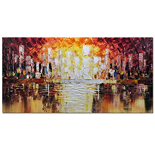 Metuu Modern Canvas Paintings, Texture Palette Knife Landscape Paintings Modern Home Decor Wall Art Painting Original Hand Painted Landscape Wood Inside Framed Ready to Hang 24x48inch