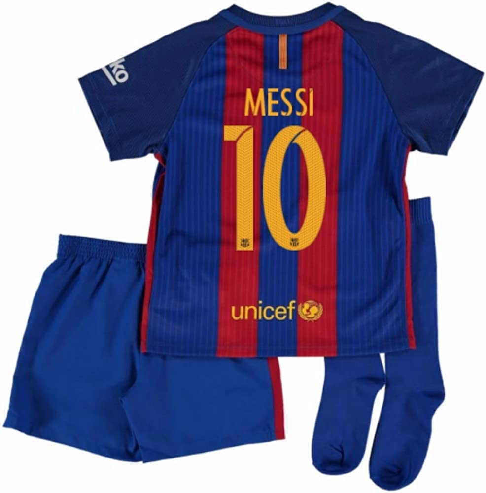 2016-17 Barcelona Home Little Boys Mini Kit (With Sponsor) (Messi ...