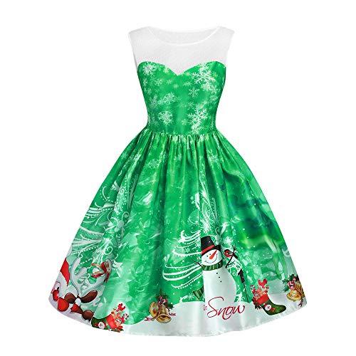 iYBUIA 2018 Women Fashion Lace Patchwork Snowman Print Sleeveless High Waist Dress Christmas Dress(Green,CN:S/US:4)