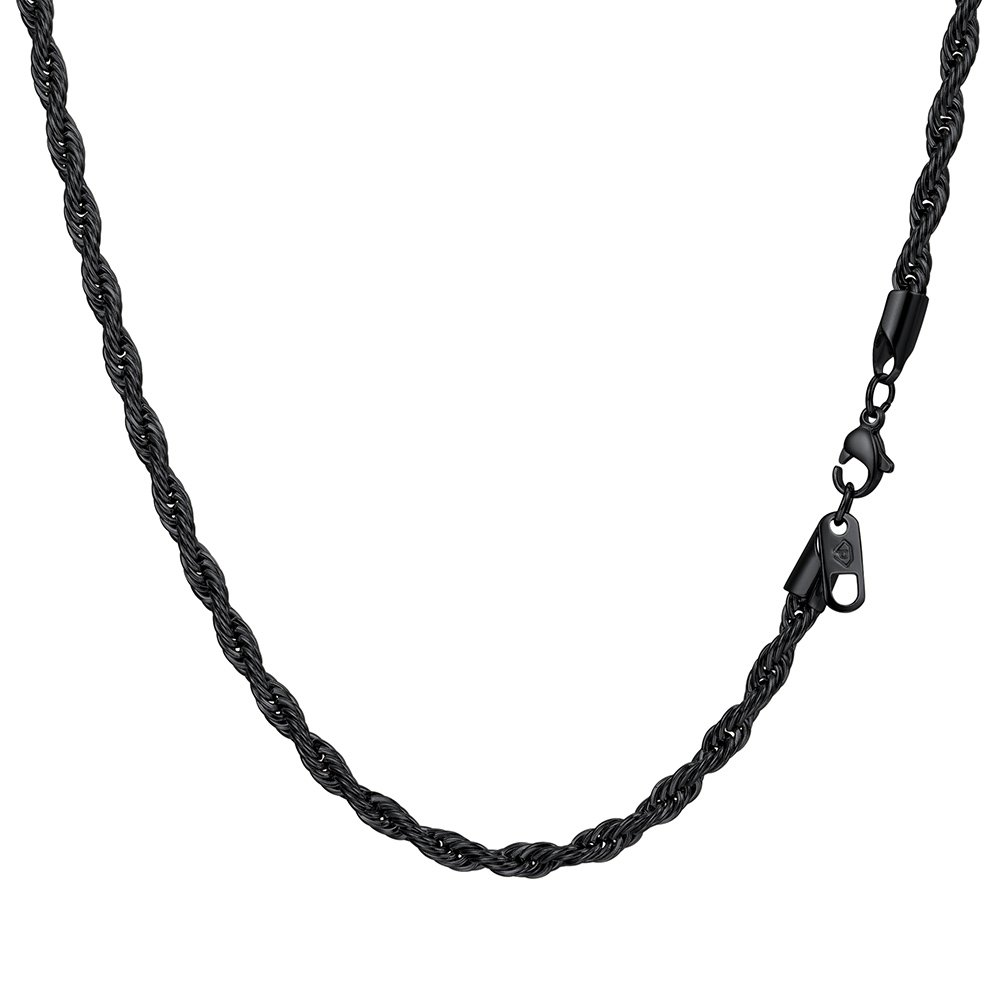 Prosteel Twist Rope Chain Necklaces with Lobster Clasp 3mm/6mm Wide 316L Stainless Steel Silver Gold Black 18 20 22 24 26 28 30 inch Men Jewelry PROSTEEL Jewelry PSN3553H-18-NA