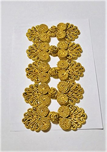 1.75' Button (Five Pairs of Bead Chinese Frogs fasteners closure buttons in Metallic Gold, Available in 15 Colors.)