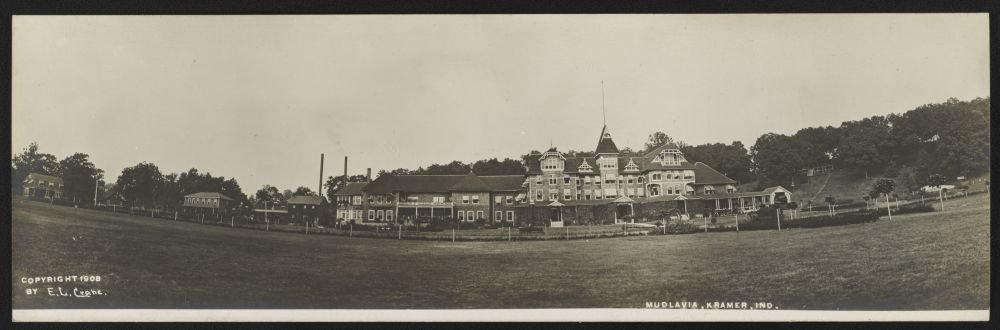 1908 Photo Mudlavia, Kramer, Ind. Postcard shows Mudlavia hotel and spa in Kramer, Indiana. Location: Indiana, Kramer