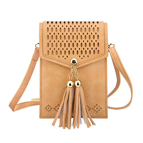 Cell Phone Bag, MoKo Crossbody Wallet Purse Folk Style Case, Fit Smartphone Up to 6.3, for iPhone Xs/Xs Max/XR, Samsung Galaxy S10e/S10/S10 Plus, Google Pixel 3a/3a XL, Oneplus 7/7 Pro - Brown