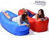 Inflatable Loungers Lazy Bag Air Lounger - Water Proof & Air Anti-Leaking Hangout Bag Air Lounger for Beach Lake Camping Pool & Music Festivals (Red)