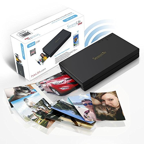 Portable Instant Mobile Photo Printer – Wireless Color Picture Printing from Apple iPhone, iPad or Android Smartphone Camera – Mini Compact Pocket Size Easy for Travel – SereneLife PICKIT22BK (Black)
