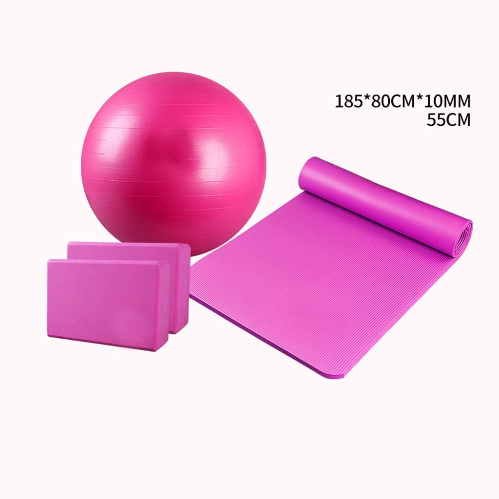 JSSFQK ヨガマット初心者フィットネスマット女性肥厚幅広ノンスリップスポーツヨガボールレンガ初心者男性 ヨガマット (色 : 紫の) B07RGJH5KL ピンク ピンク