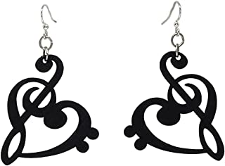 product image for Treble Clef Heart Dangle Earrings, Wood with Stainless Steel Hooks, Black