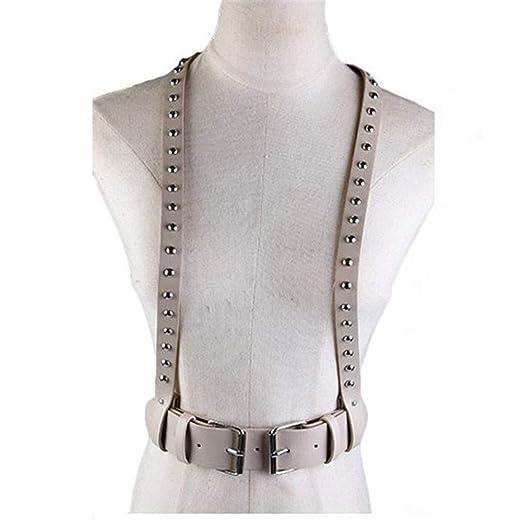 Unisex Faux Leather Punk Cinturón de arnés de pecho ajustable con ...