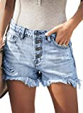 MODARANI Button Closure Denim Shorts for Women Ripped Frayed Jean Shorts Juniors Mid Rise Light Blue Cute Shorts M