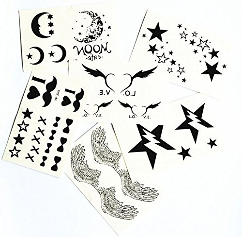 [GRASHINE mix design fake and realistic temporary tattoos 6pcs in one package angel wings,stars,moons,hearts,I LOVE YOU,butterfly] (Fake Beards That Look Real)