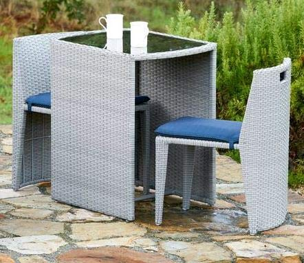 Luca Outdoor- Sunroom Furniture- Out Door Patio Furniture- Grey Wicker Compact Three Piece Set Cushioned Glass Tabletop - Great for Summer Barbecues, Garden Parties, and Afternoons Spent Lounging